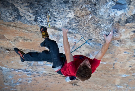 Nathan Lee in Oliana, Chum (8b), Spain. Photo by Rob Greenwood