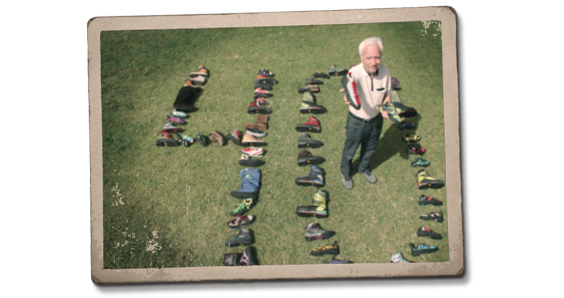 Boreal turn 40 years. Jesús Garcia holding the famous rock shoe Firé.
